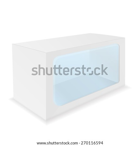 Package Cardboard Box with a transparent plastic window.  isolated on white background. Raster version