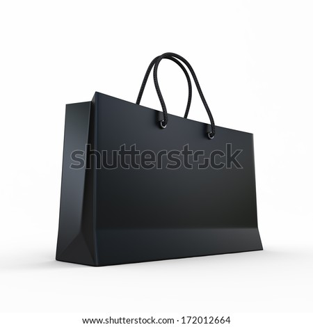 Package for purchases the black isolated on a white background - stock photo