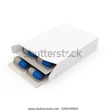 Package of Medical Pills isolated on white background - stock photo