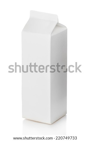 Package of milk isolated on a white background