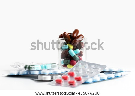 Package of pills and capsules of medicines - stock photo