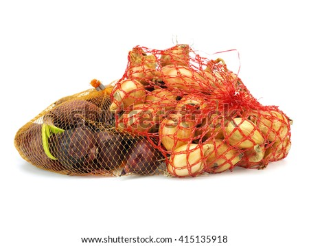 Package of seed onion on a white background