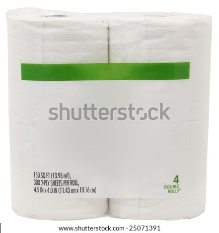 Package of toliet paper with blank label for text. - stock photo
