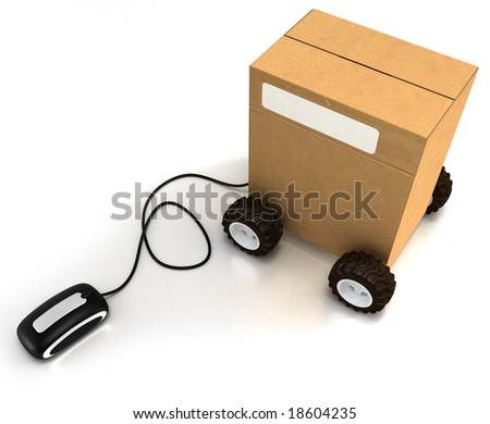 Package on wheels connected to a mouse - stock photo