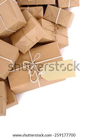 Package, pile of brown parcel, label