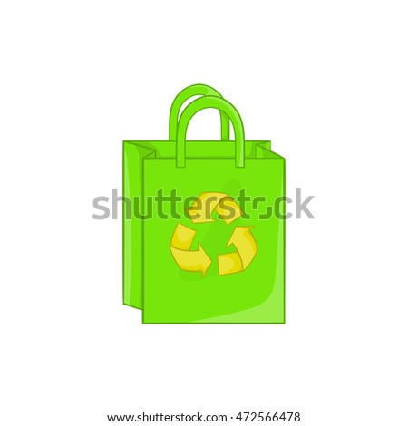 Package recycling icon in cartoon style isolated on white background. Ecology symbol