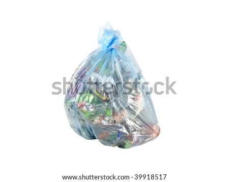 package with garbage on a white background - stock photo