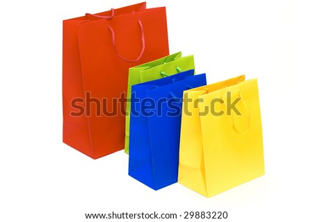 Packages for purchases are isolated on a white background.