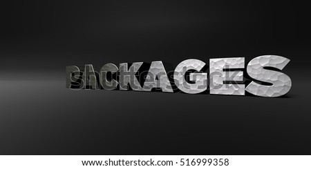 PACKAGES - hammered metal finish text on black studio - 3D rendered royalty free stock photo. This image can be used for an online website banner ad or a print postcard.