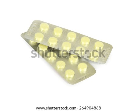 Packages with tablets on the white - stock photo