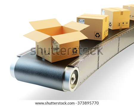Packaging beltline, packages delivery and parcels shipping concept, purchases transportation system, cardboard boxes on conveyor belt isolated on white background - stock photo