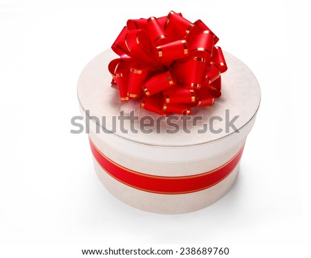 Packaging gift box. Wedding & Happy Birthday concept / studio shot of red and white box wrapping ribbon with bowknot - on white background  - stock photo