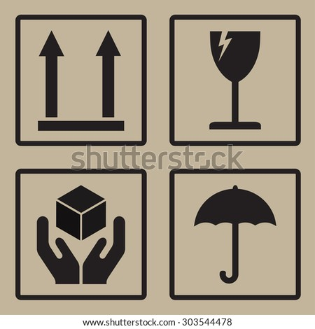 Packaging icons or sign set. Fragile symbols. - stock photo