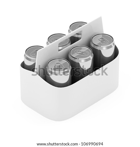 Packaging of Beer Cans isolated on white background - stock photo