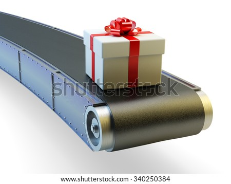 Packaging of holiday purchases and delivery concept, white gift box with red ribbon bow on conveyor belt isolated on white - stock photo
