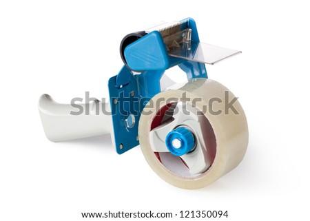 Packaging Tape Gun Dispenser Isolated Over White - stock photo