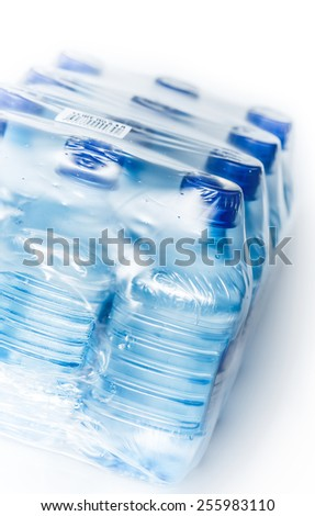 packed bottled water - stock photo