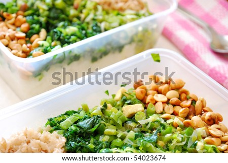 Packed meal boxes of healthy vegetables. Suitable for concepts such as diet and nutrition, healthy lifestyle, and food and beverage. - stock photo