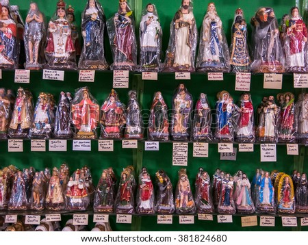 Packed saints statues in a tradicional brazilian shop