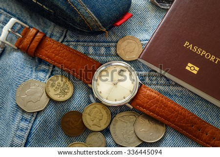 Packed Stuffs in a Suitcase Prepared for Traveling - stock photo