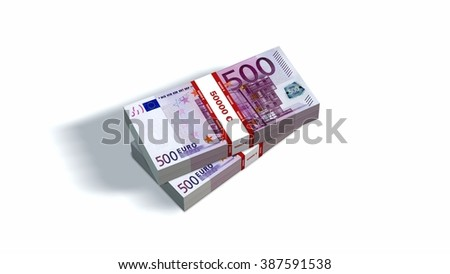 packets of 500 Euro notes with bank wrapper