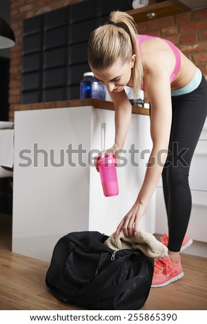 Packing bag for the gym  - stock photo