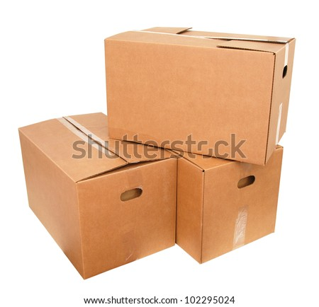 Packing moving boxes on white - stock photo