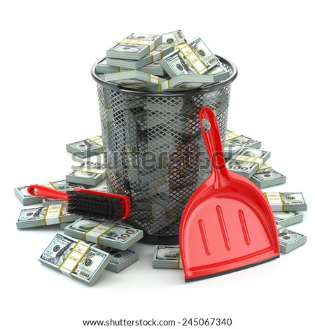 Packs of dollar in the garbage can. Waste of money or currency collapse concept. 3d - stock photo