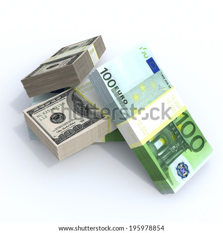 packs of dollars and euro