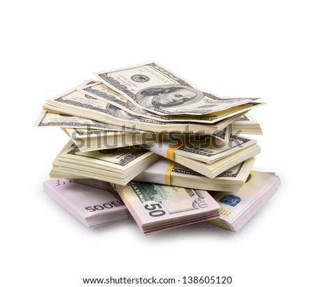 packs of dollars and euro isolated on a white background - stock photo