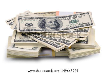 packs of dollars and euro isolated on a white background