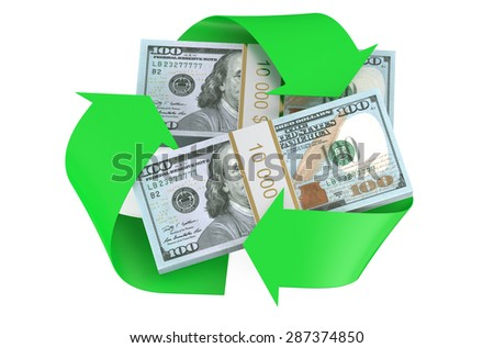 packs of dollars and recycle symbol isolated on  white background - stock photo