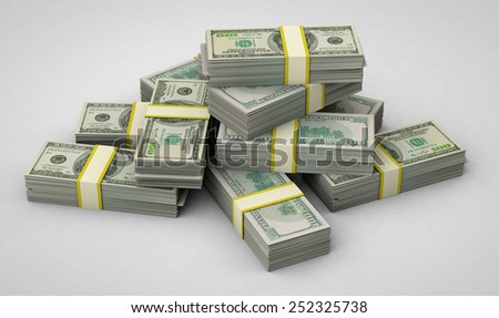 Packs of dollars 3D - stock photo