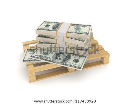 Packs of dollars on a pallet.Isolated on white background.3d rendered.