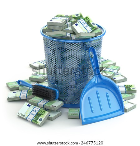 Packs of euro in the garbage can. Waste of money or currency collapse concept. 3d - stock photo
