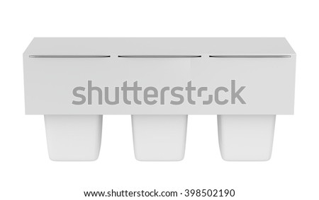 Packs of three blank plastic containers for yogurt, ice cream, pudding or other products, isolated on white, 3D illustration - stock photo