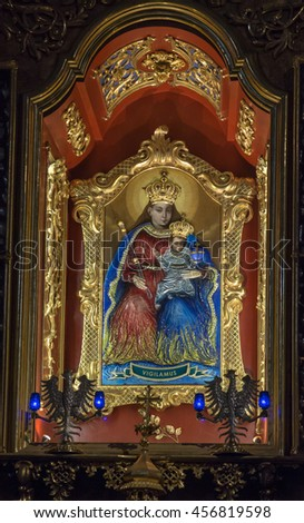Paclawska Kalwaria, Poland - July 18, 2016: The image of Our Lady of Kalwaria in the altar of the shrine of Kalwaria Paclawska, Poland - stock photo