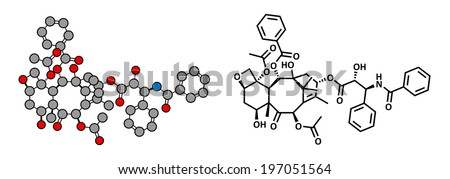 Paclitaxel cancer chemotherapy drug, chemical structure.	Paclitaxel cancer chemotherapy drug, chemical structure. Conventional skeletal formula and stylized representation.