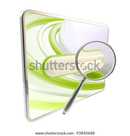 Pad search bar icon under the glossy magnifier isolated on white - stock photo