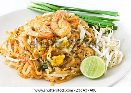Pad Thai Goong Sod ,Fried noodles Sticks with Shrimp - stock photo