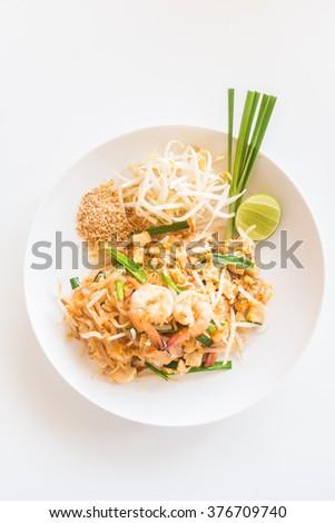 Pad Thai noodles - Thai food style , Soft focus point - stock photo