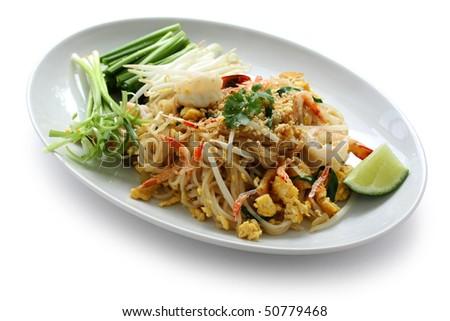 Pad thai, Stir fry noodles  with shrimp - stock photo