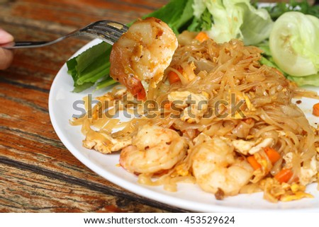 Pad Thai Ta-Ku (Spicy) With Prawns.From Chaing mai Thailand