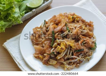 Pad thai(Thai food ) , Stir fry noodles with shrimp tofu and egg - stock photo