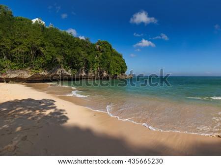 Padang Padang Beach in Bali Indonesia - nature vacation background - stock photo