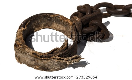 Padded old chains, or shackles, used for locking up prisoners or slaves between 1600 and 1800.  - stock photo