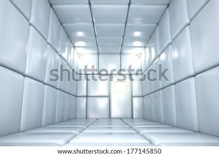 Padded room in mental hospital. 3D render. - stock photo
