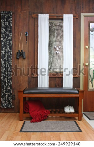 Padded storage bench for better organizing footwear - stock photo