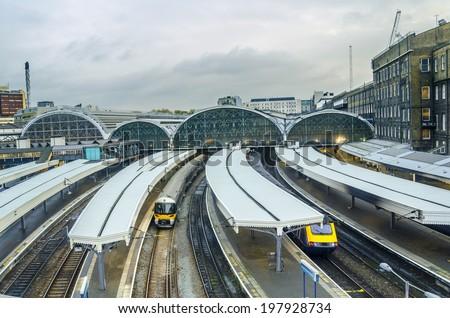Paddington Station. Trains awaiting departure. - stock photo