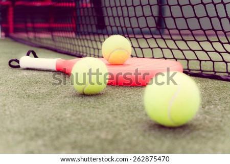 paddle balls and racket vintage - stock photo
